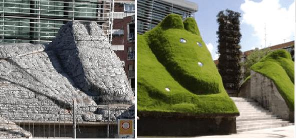 Antes (izquierda) y después (derecha) de una estructura construida con gaviones - FIG31
